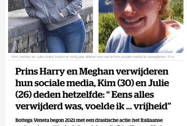 Deactiveren van Social Media? – NINA – HLN Januari 2021